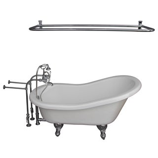 Barclay 60-inch Acrylic Slipper Bathtub Kit in White with Porcelain Lev