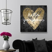 Oliver Gal 'Gorgeous Salute' Black, Gold Inspirational Wall Art Print on Premium Canvas
