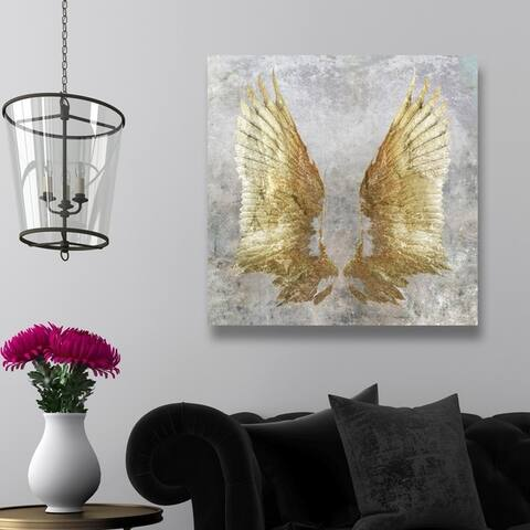 Oliver Gal 'My Golden Wings' Gold, Gray Gallery Wrapped Canvas Art