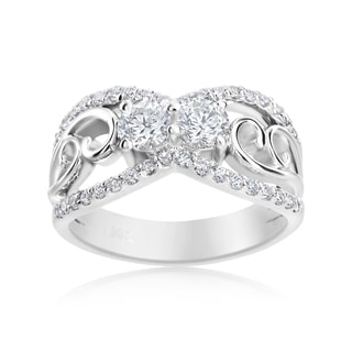 Andrew Charles 14k White Gold 1ct TDW Fancy Diamond Ring (H-I, SI1-SI2)