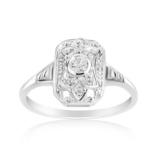 Andrew Charles 14k White Gold 1/8ct TDW Diamond Vintage Style Ring (H-I, SI1-SI2)