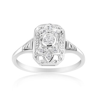 Andrew Charles 14k White Gold 1/8ct TDW Diamond Vintage Style Ring (More options available)