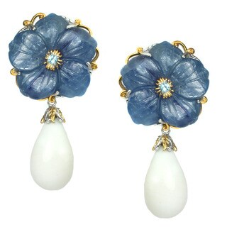 Michael Valitutti Kyanite Carved Flower Earrings