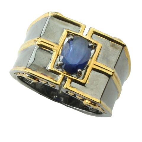 Michael Valitutti Two-tone Palladium Silver Men's Iolite and Sappire Ring
