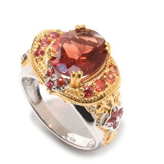 Michael Valitutti Andesine and Dark Orange Sapphire Ring