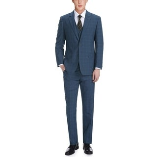Verno Antonio Men's Navy and Black English Plaid Classic Fit Italian Style 3-piece Suit