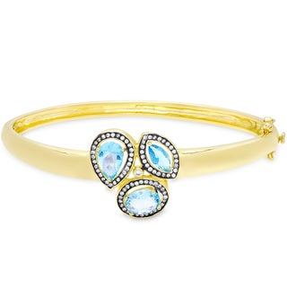 Samantha Stone Gold Over Sterling Silver Simulated Blue Topaz and Cubic Zirconia Three Stone Bangle