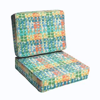Blue Green Squares 23.5-inch Indoor/ Outdoor Corded Chair Cushion Set