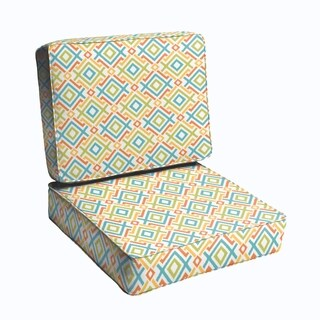 Blue Green Geometric 23.5-inch Indoor/ Outdoor Corded Chair Cushion Set