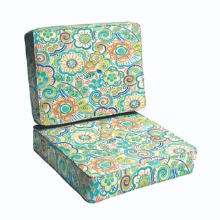 Blue Rio Floral 23.5-inch Indoor/ Outdoor Corded Chair Cushion Set