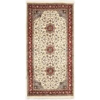 Hand-knotted Ivory/ Red Flat Weave Area Rug (5'1 x 10'1)