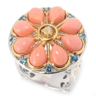 Michael Valitutti Flower Salmon Coral Ring