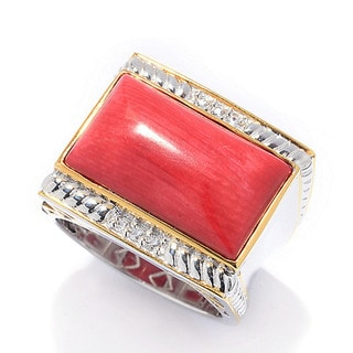 Michael Valitutti Men's Silver Red Coral Ring