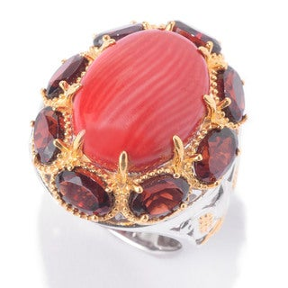 Michael Valitutti Red Bamboo Coral and Rhodolite Garnet Ring