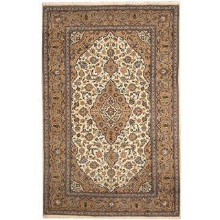 Herat Oriental Persian Hand-knotted Kashan Ivory/ Beige Wool Area Rug (6'8 x 10')