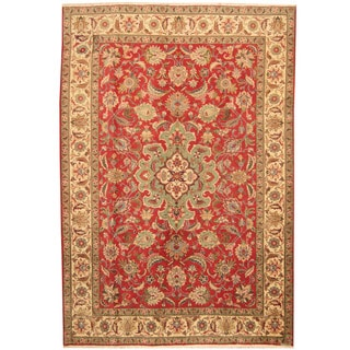 Herat Oriental Persian Hand-knotted 1960s Semi-antique Tabriz Red/ Ivory Wool Rug (6'8 x 9'8)