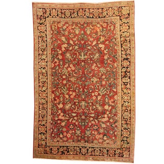 Herat Oriental Persian Hand-knotted 1920s Antique Tribal Sarouk Red/ Navy Wool Rug (6'7 x 10'2)