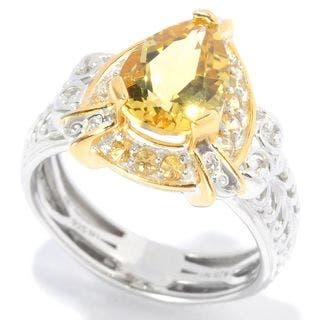Michael Valitutti Pear Yellow Beryl Ring|https://ak1.ostkcdn.com/images/products/11511098/P18461768.jpg?impolicy=medium