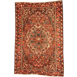 Herat Oriental Persian Hand-knotted Tribal Bakhtiari Red/ Navy Wool Rug (6'8 x 10')
