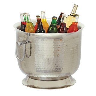 Party Essentials Stainless Steel Double Wall Hammered Bucket Wine Cooler