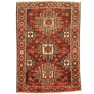 Herat Oriental Persian Hand-knotted Tribal Bakhtiari Brown/ Charcoal Wool Rug (6'8 x 10')