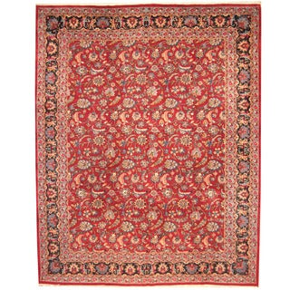 Herat Oriental Persian Hand-knotted 1960s Semi-antique Mashad Wool Rug (11'4 x 14'2)