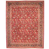 Herat Oriental Persian Hand-knotted 1960s Semi-antique Mashad Wool Rug - 11'4 x 14'2