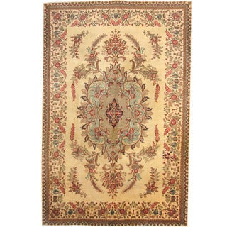 Herat Oriental Persian Hand-knotted 1960s Semi-antique Tabriz Beige/ Brown Wool Rug (7' x 10'9)