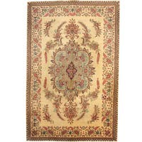 Herat Oriental Persian Hand-knotted 1960s Semi-antique Tabriz Wool Rug (7' x 10'9) - 7' x 10'9