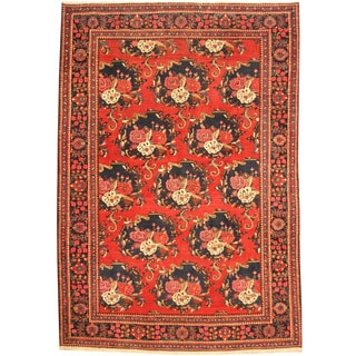 Herat Oriental Persian Hand-knotted Tribal Bakhtiari Red/ Navy Wool Rug (7'3 x 10'7)
