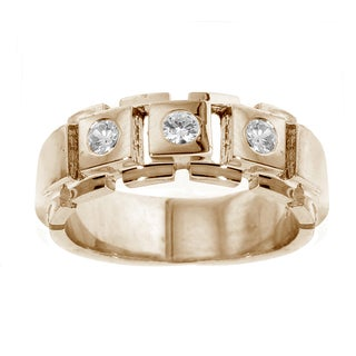 14k Yellow Gold Men's 2/5ct TDW 3-stone Diamond Band