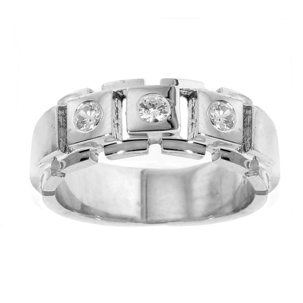 052b89c0c1658 Shop 18k White Gold Men s 2 5ct TDW 3-stone Diamond Ring - On Sale ...
