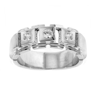 18k White Gold Men's 2/5ct TDW 3-stone Diamond Ring