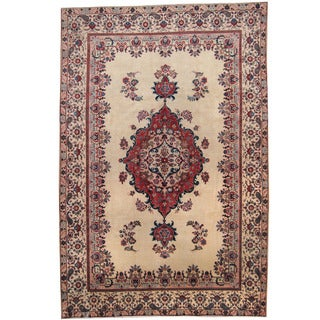 Herat Oriental Persian Hand-knotted 1950's Semi-antique Tabriz Ivory/ Red Wool Rug (7'7 x 11'4)