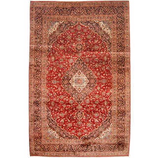 Herat Oriental Persian Hand-knotted 1960s Semi-antique Kashan Wool Rug (9'10 x 15'3)