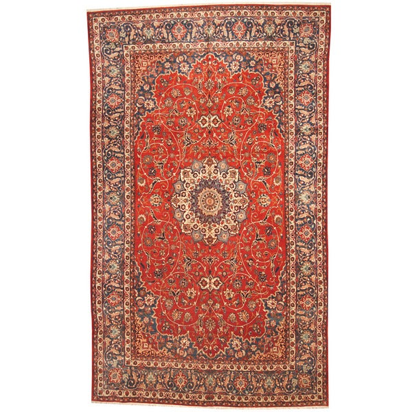 Herat Oriental Persian Hand-knotted 1950s Semi-antique Isfahan Wool Rug (10'2 x 17') - 10'2 x 17'