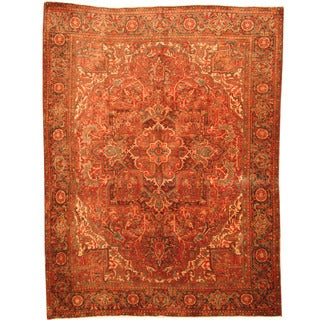 Herat Oriental Persian Hand-knotted 1940s Semi-antique Heriz Red/ Brown Wool Rug (7'7 x 10')