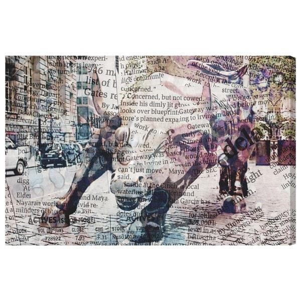 Oliver Gal X27 Wall St Bull Canvas Art