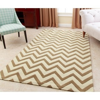 Abbyson Hand-tufted Quincy Gold New Zealand Wool Rug (3' x 5')