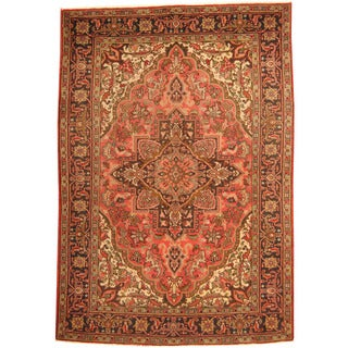 Herat Oriental Persian Hand-knotted Tribal 1960s Semi-antique Heriz Salmon/ Black Wool Rug (7'3 x 10'7)