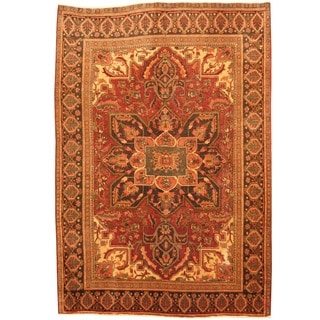 Herat Oriental Persian Hand-knotted Tribal 1940s Semi-antique Heriz Red/ Black Wool Rug (7'1 x 10'4)