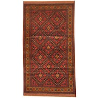 Herat Oriental Afghan Hand-knotted 1960s Semi-antique Tribal Balouchi Navy/ Red Wool Rug - 2'8 x 5'