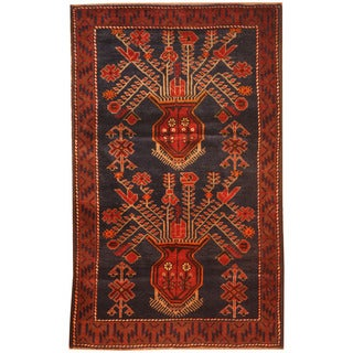 Herat Oriental Afghan Hand-knotted 1970s Semi-antique Tribal Balouchi Navy/ Red Wool Rug (2'10 x 4'6)