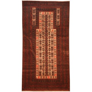 Herat Oriental Afghan Hand-knotted 1980s Semi-antique Tribal Balouchi Ivory/ Red Wool Rug (2'9 x 5')