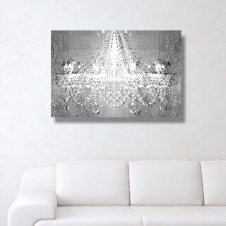 Oliver Gal 'Dramatic Entrance Chrome' Glam, Fashion Chandeliers Gallery Wrapped Canvas Art - gray, white