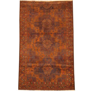 Herat Oriental Afghan Hand-knotted 1960s Semi-antique Tribal Balouchi Brown/ Navy Wool Rug (2'9 x 4'7)