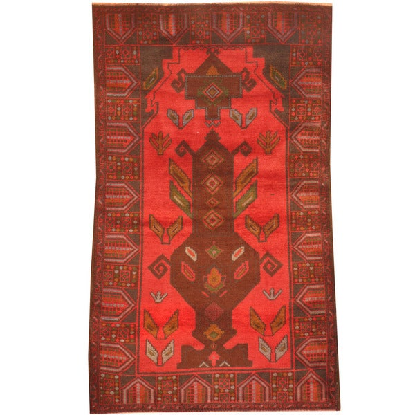 Herat Oriental Afghan Hand-knotted 1960s Semi-antique Tribal Balouchi Red/ Navy Wool Rug (2'10 x 4'9)