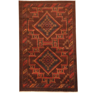 Herat Oriental Afghan Hand-knotted 1980s Semi-antique Tribal Balouchi Burgundy/ Tan Wool Rug (2'9 x 4'5)