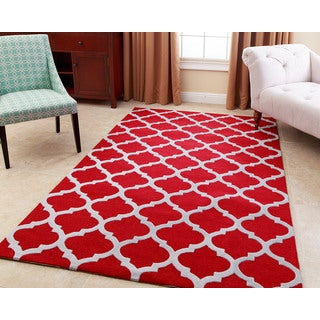 ABBYSON LIVING Hand-tufted Vera Red New Zealand Wool Rug (5' x 8')
