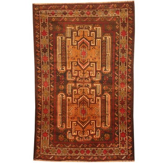 Herat Oriental Afghan Hand-knotted 1960s Semi-antique Tribal Balouchi Brown/ Red Wool Rug (2'10 x 4'5)